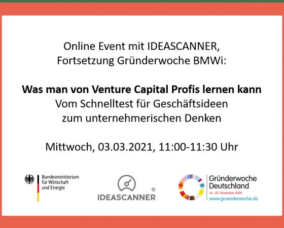Anmeldung: Online Event mit IDEASCANNER